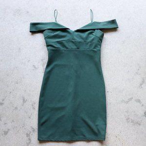 Green Off the Shoulder Body Con Mini Dress